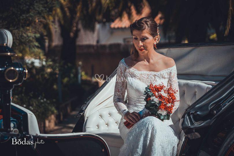 La novia en coche de caballo