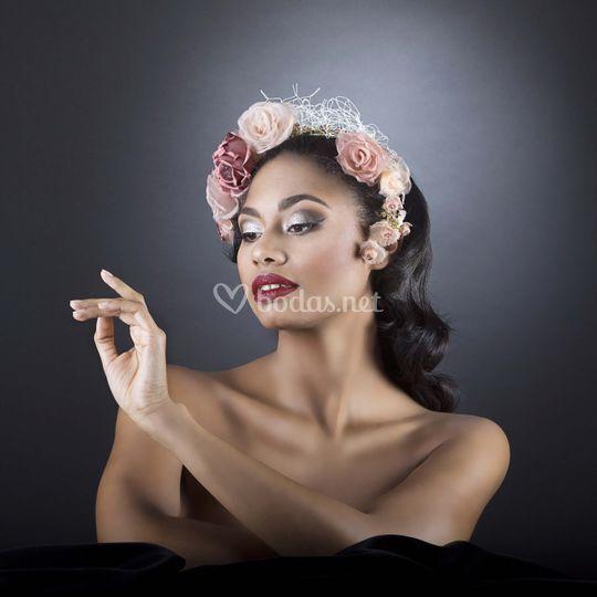 Corona de flores de seda roses