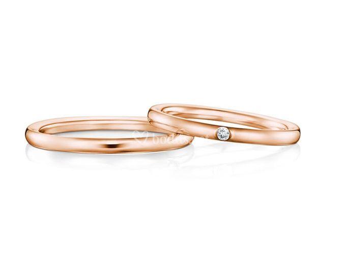 Alianzas de diamante oro rosa