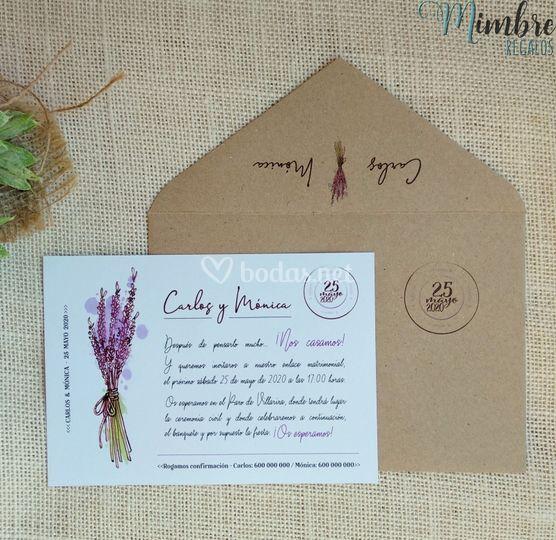 Invitación postal lavanda