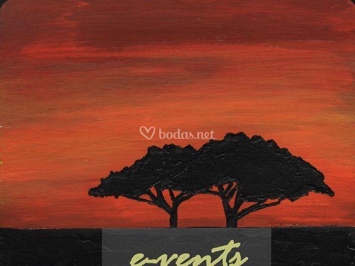 Ejemplo de mesero con motivos africanos