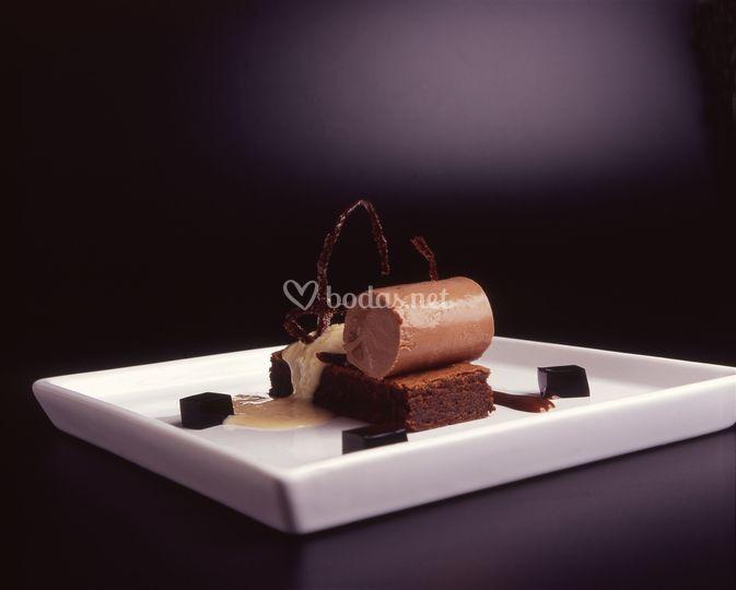 Chocolate negro en texturas