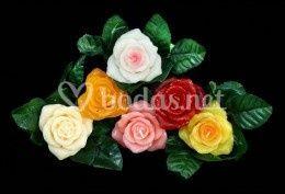 Velas en forma de rosas, calas o lilium