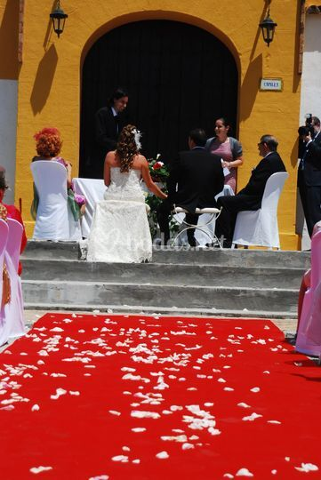 Decoración boda pétalos rosa