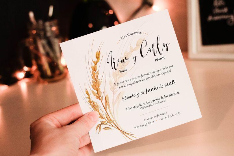 Invitación acuarela y trigo
