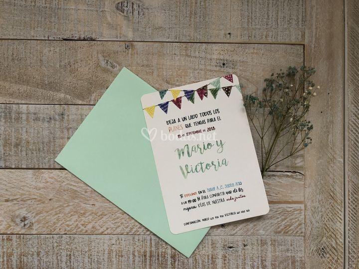 Invitación papel lino