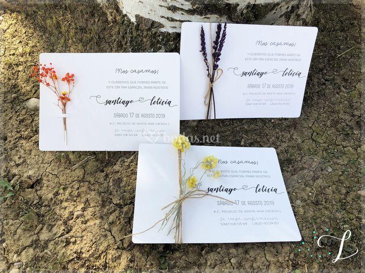 Invitaciones con flor