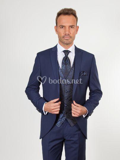 U10 traje novio azul brocado