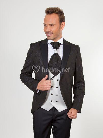 U60 traje novio negro blanco