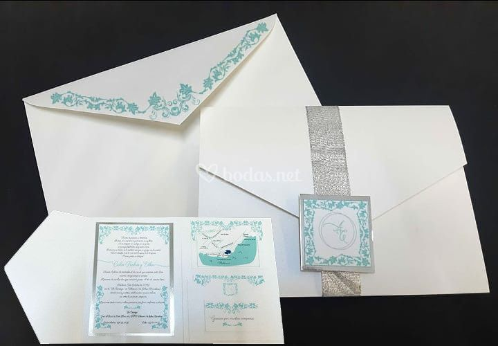 Invitación verde agua y plata