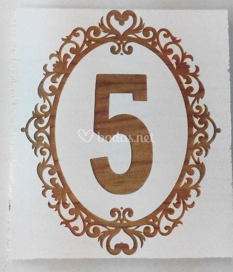 Numero para mesa de boda