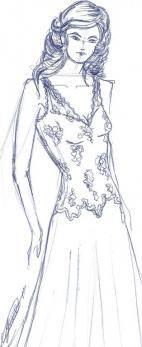 Boceto vestido novia