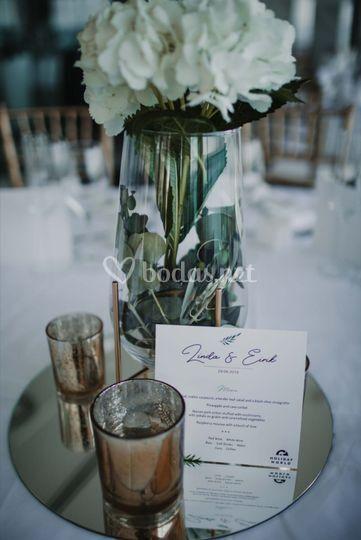 Detalle de la decoración de bodas