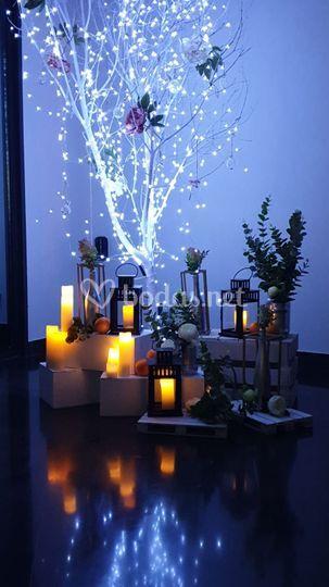 Iluminación led con velas