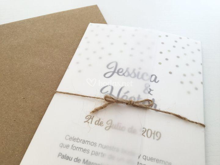 Invitación Dots + papel vegetal