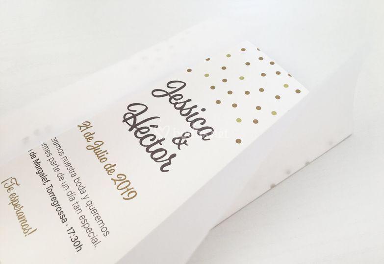 Invitación Dots +papel vegetal