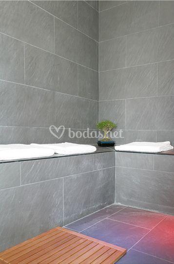 Detalle de la ducha del spa