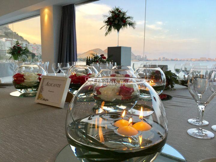Banquete con vistas al mar