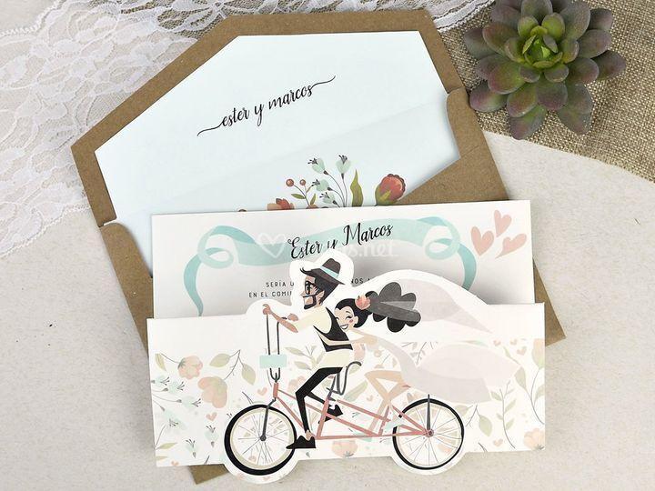 Invitación con bicicleta