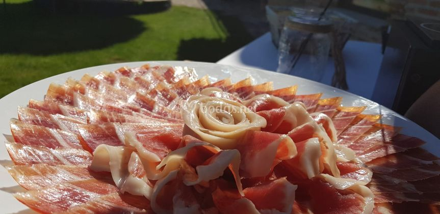 Plato de jamón con ondas
