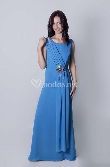 Vestido de madrina azul Zia