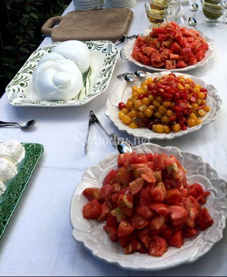 Tomates y mozzarella