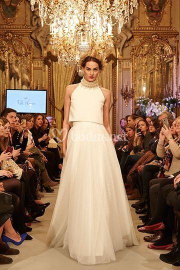 vestido de novia halter dos piezas, con falda romántica de tul de