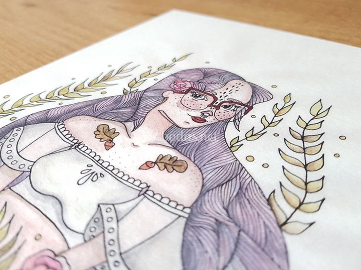 Novia ilustración acuarela