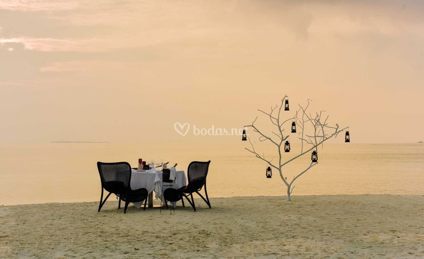 Cenas románticas en Maldivas