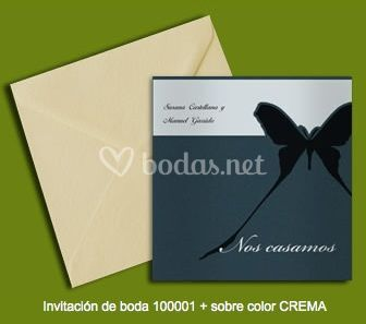 Invitación 100001+sobre color crema