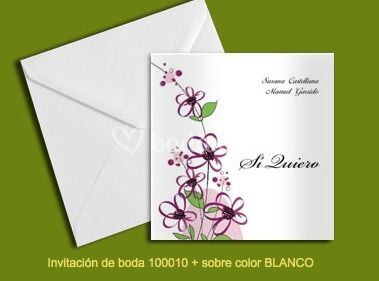 Invitación 100010+sobre color blanco