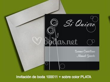 Invitación 100011+sobre color plata