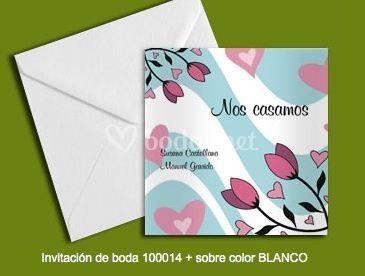 Invitación 100014+sobre color blanco