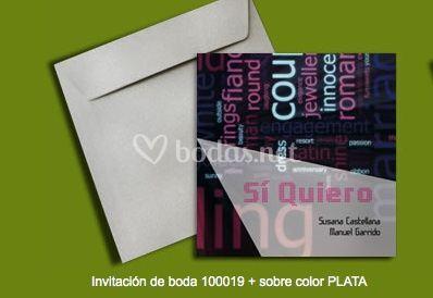 Invitación 100019+sobre color plata