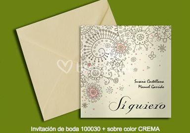 Invitación 100030+sobre color crema