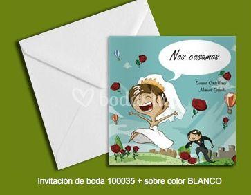 Invitación 100035+sobre color blanco