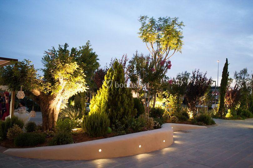 Jardín Mediterráneo iluminado