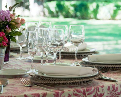 Detalle mesa y mantelería