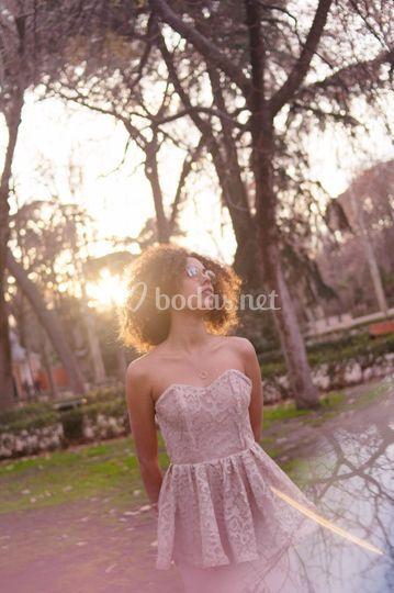 Vestido rosa dama