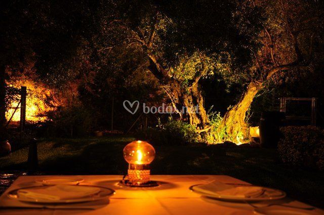 Iluminación con velas