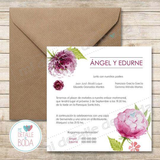 Invitación de boda peonias