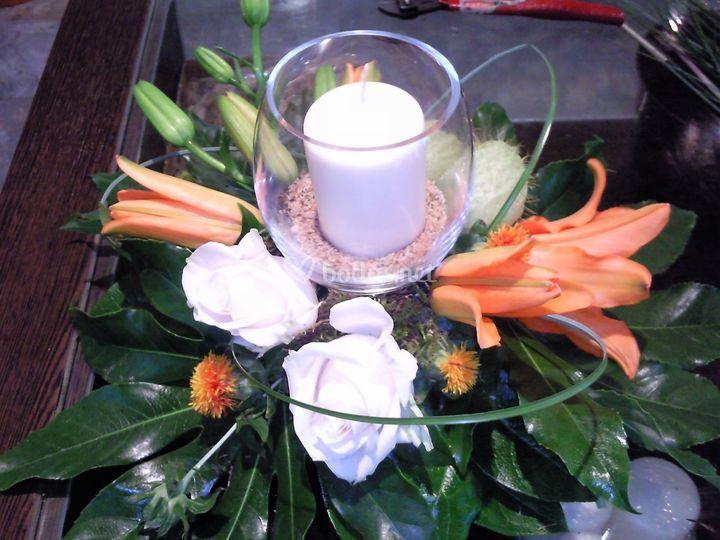 Centro mesa con vela