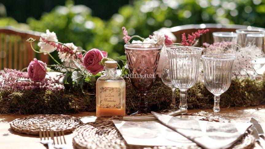 Detalle decoración mesas