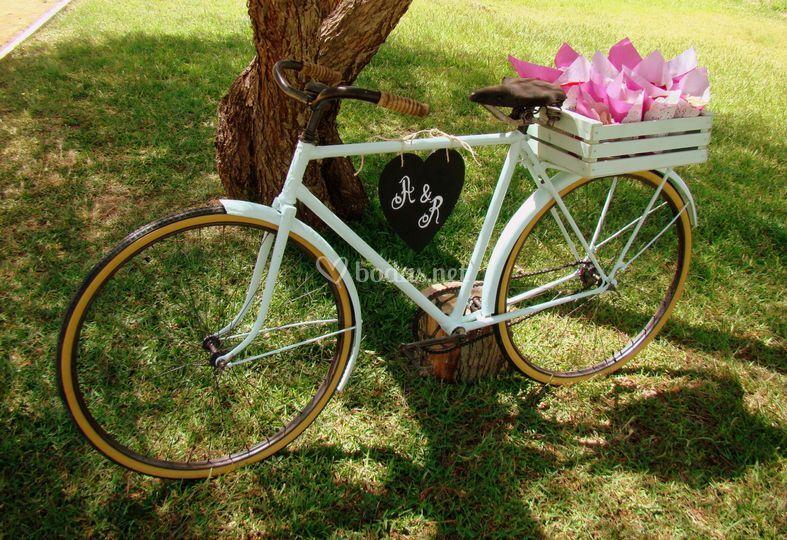 Bicicleta vintage para pétalos