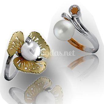 Sortijas con perlas para novia