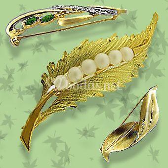 Broches de solapa oro y perlas