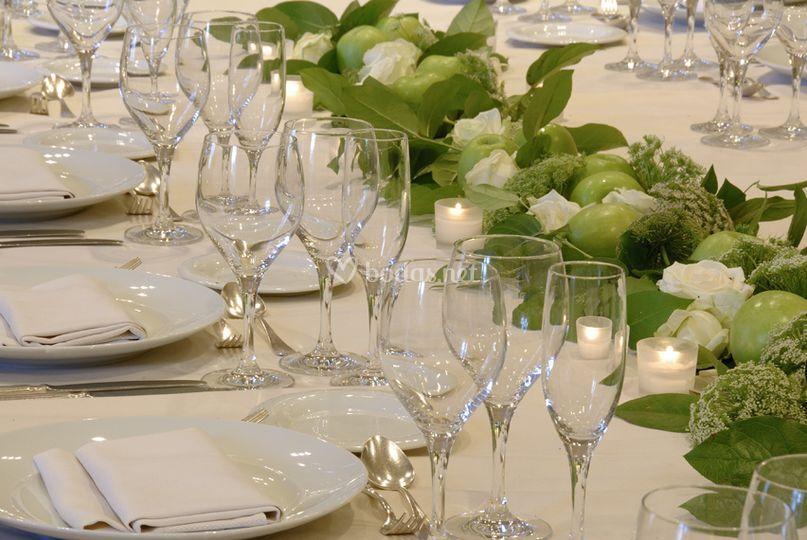 Detalle de la mesa del banquete