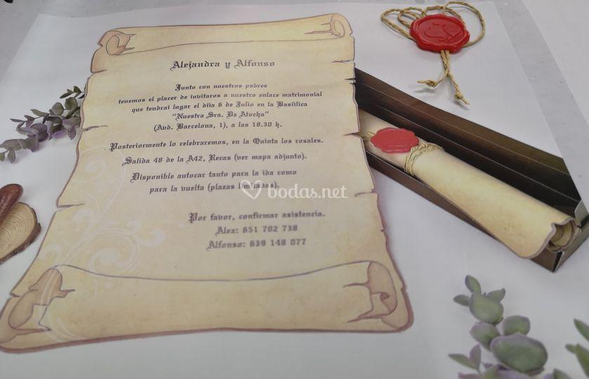 Invitación pergamino