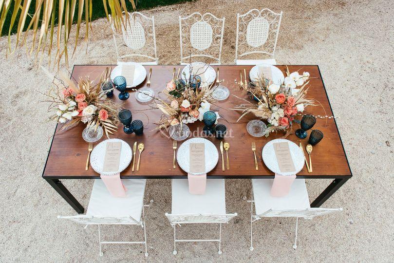 Decoración de mesa vintage