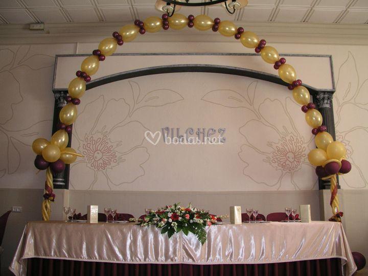 Decoración mesa bodas